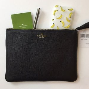 🌟KATE SPADE LEATHER BLACK ZIP POUCH🌟